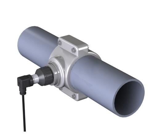 Débitmètre pour tuyauterie d'irrigation pour tuyauteries en PVC, installation avec prise à étrier.